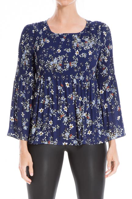 Image of Max Studio Floral Smocked Blouse