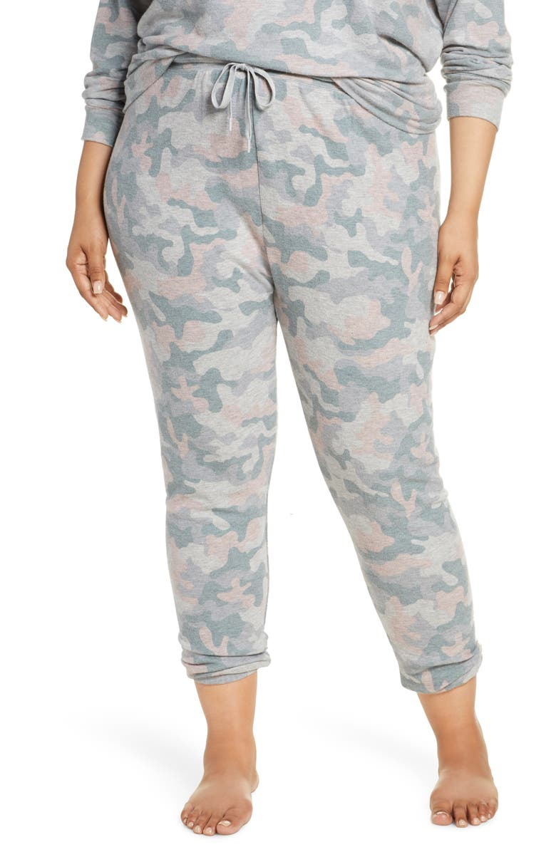 PJ SALVAGE Weekend Love Camo Lounge Jogger Pants, Main, color, HEATHER GREY