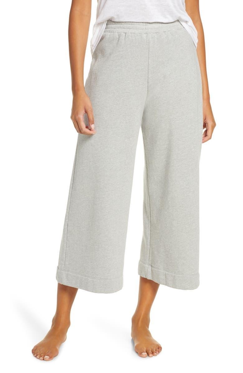 MAISON DU SOIR Fleece Lounge Pants, Main, color, HEATHER GREY