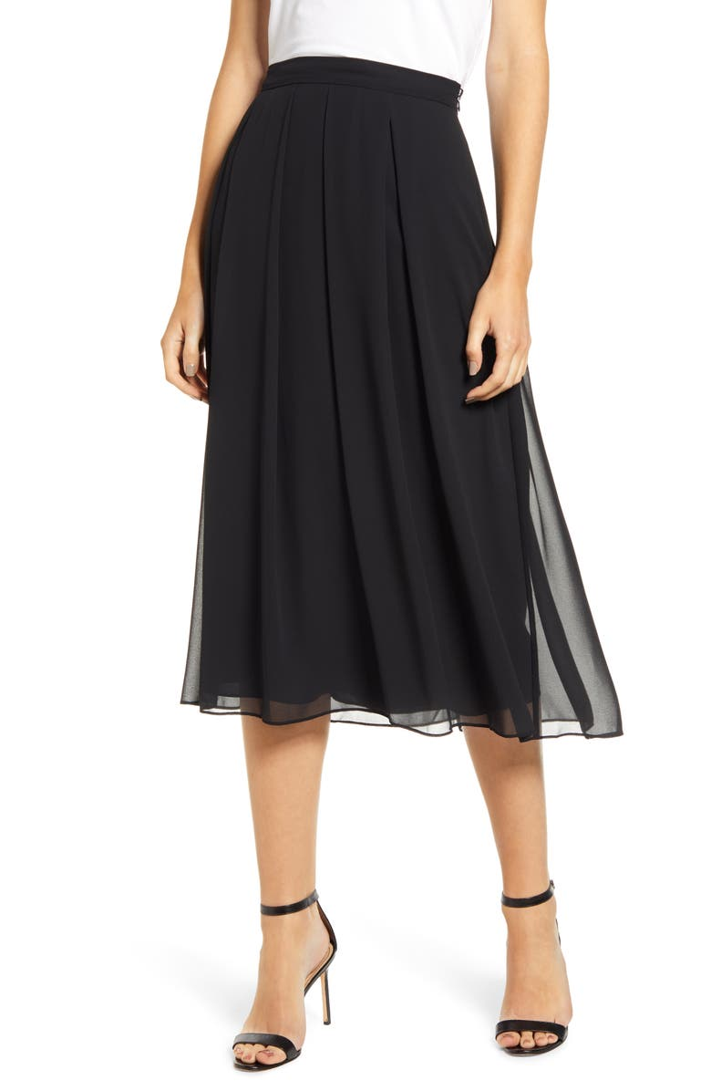 ANNE KLEIN Pleated Chiffon Skirt, Main, color, 001