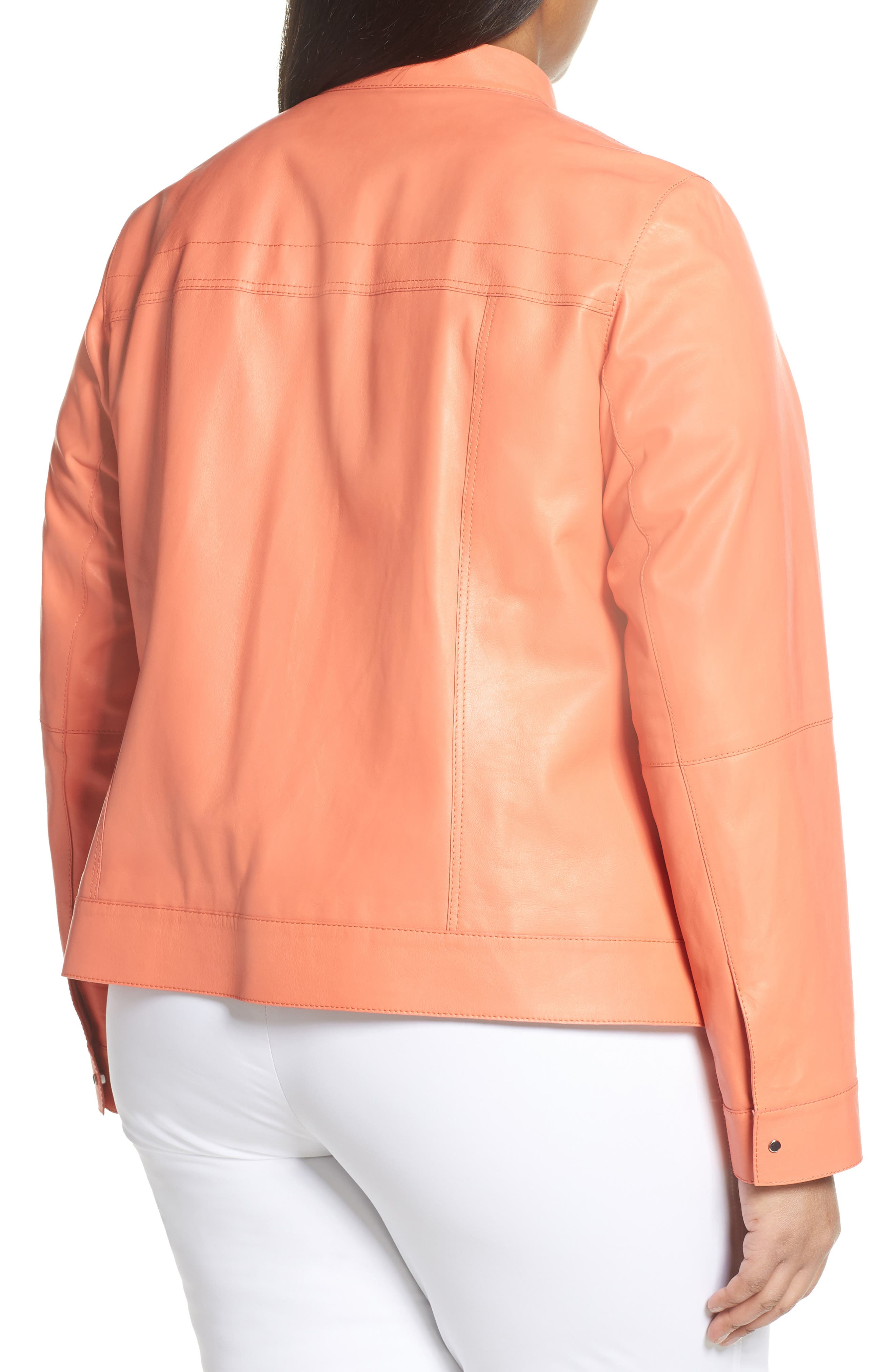 ,                             Galicia Leather Jacket,                             Alternate thumbnail 2, color,                             PEACH ROSE