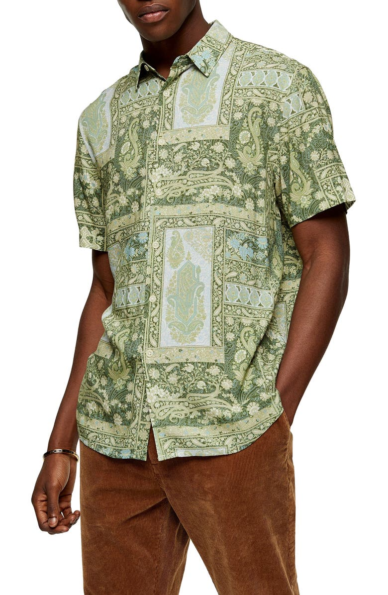 TOPMAN Classic Fit Paisley Short Sleeve Button-Up Shirt, Main, color, OLIVE MULTI