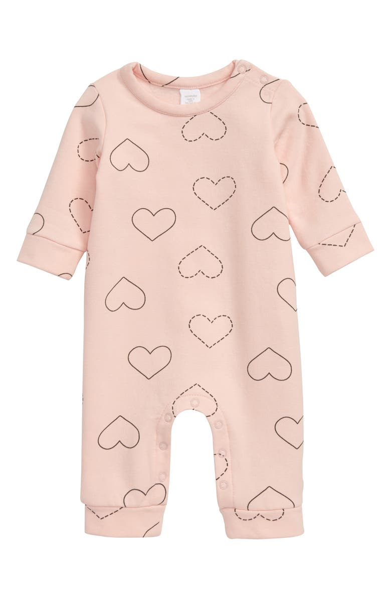 NORDSTROM Heart Print Romper, Main, color, PINK ENGLISH HEARTS