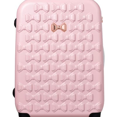 Ted Baker London Large Beau Bow Embossed Four-Wheel 31-Inch Trolley Suitcase - Pink