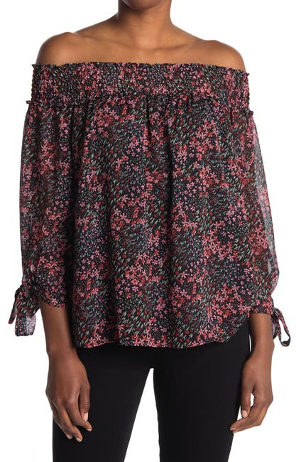 Image of CeCe by Cynthia Steffe Off-the-Shoulder Tie Sleeve Top