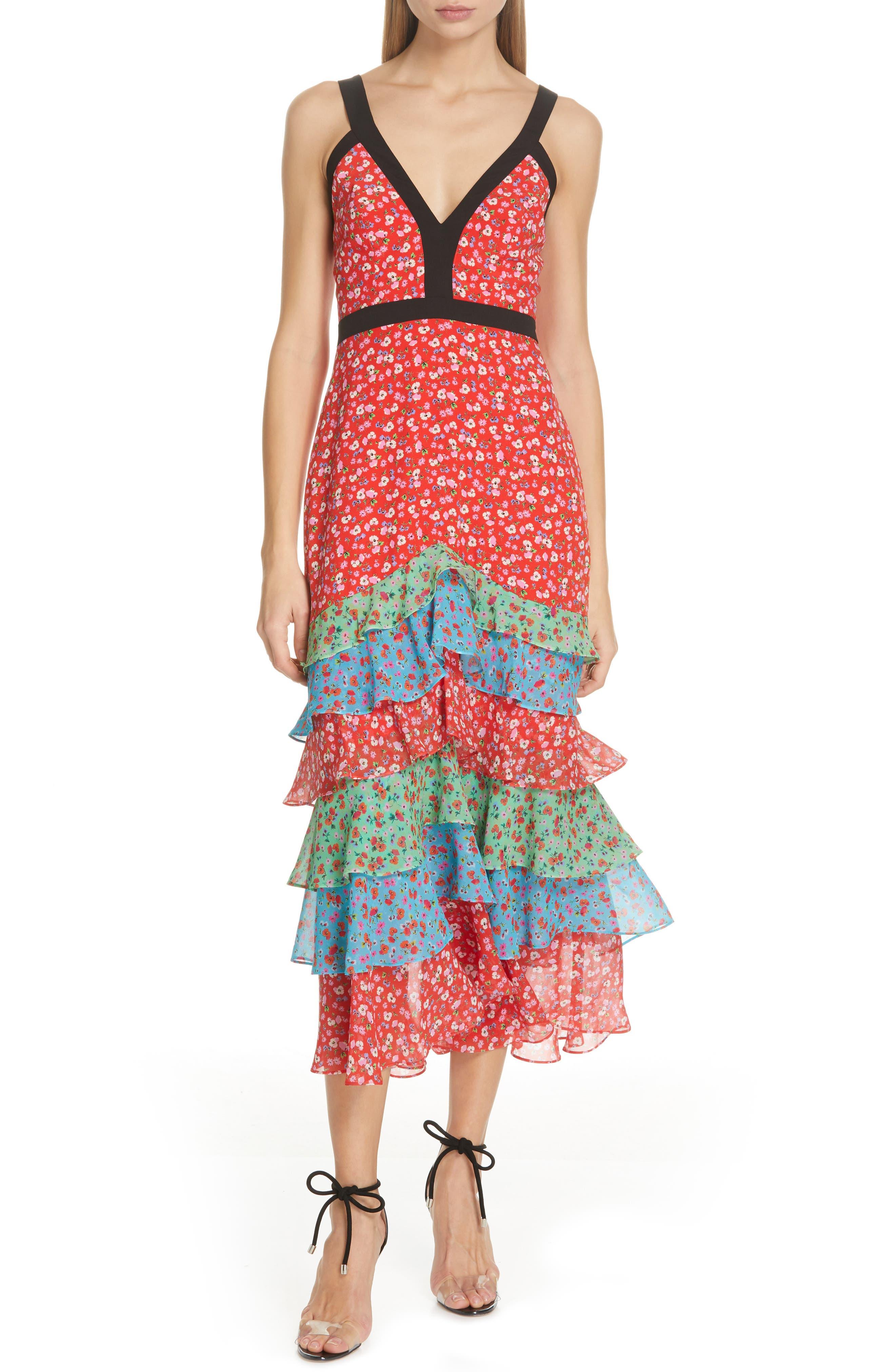 Saloni Lana Tiered Hem Silk Midi Dress, Red