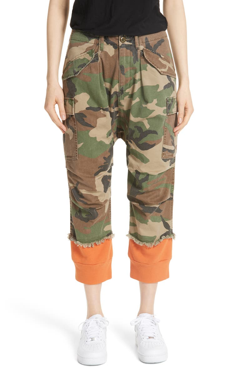 R13 Camo Harem Pants with Sweat Cuffs, Main, color, CAMO W/ ORANGE COMBO