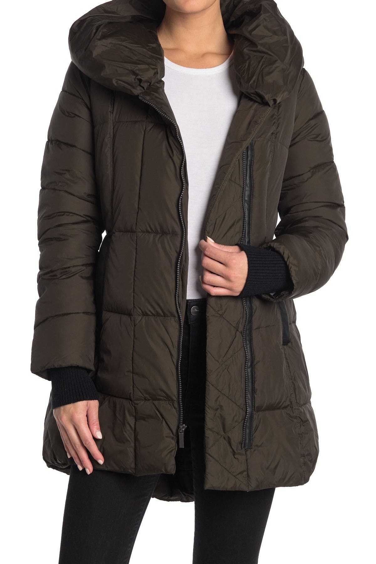 Image of French Connection Curved Hem Padded Zip Up Jacket