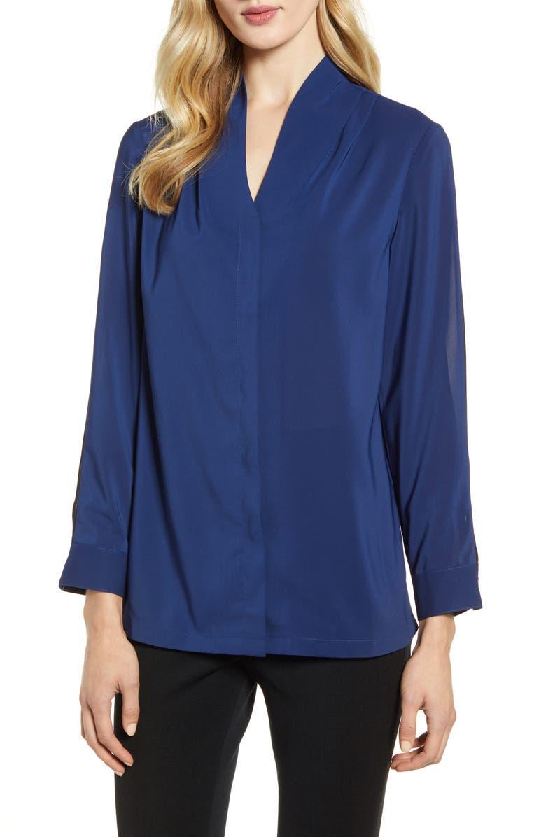 MING WANG Sleeve Stripe Blouse, Main, color, SPECTRUM BLUE/ BLACK