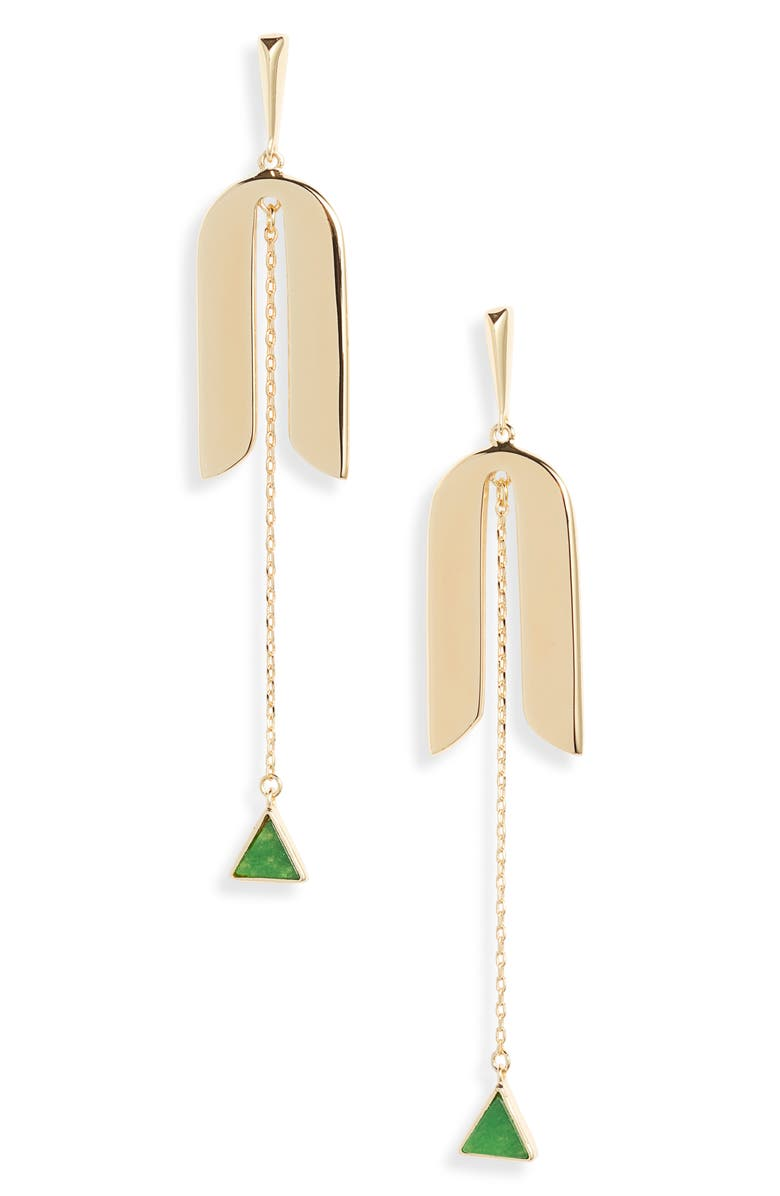 KATE SPADE NEW YORK modern icon linear earrings, Main, color, GREEN