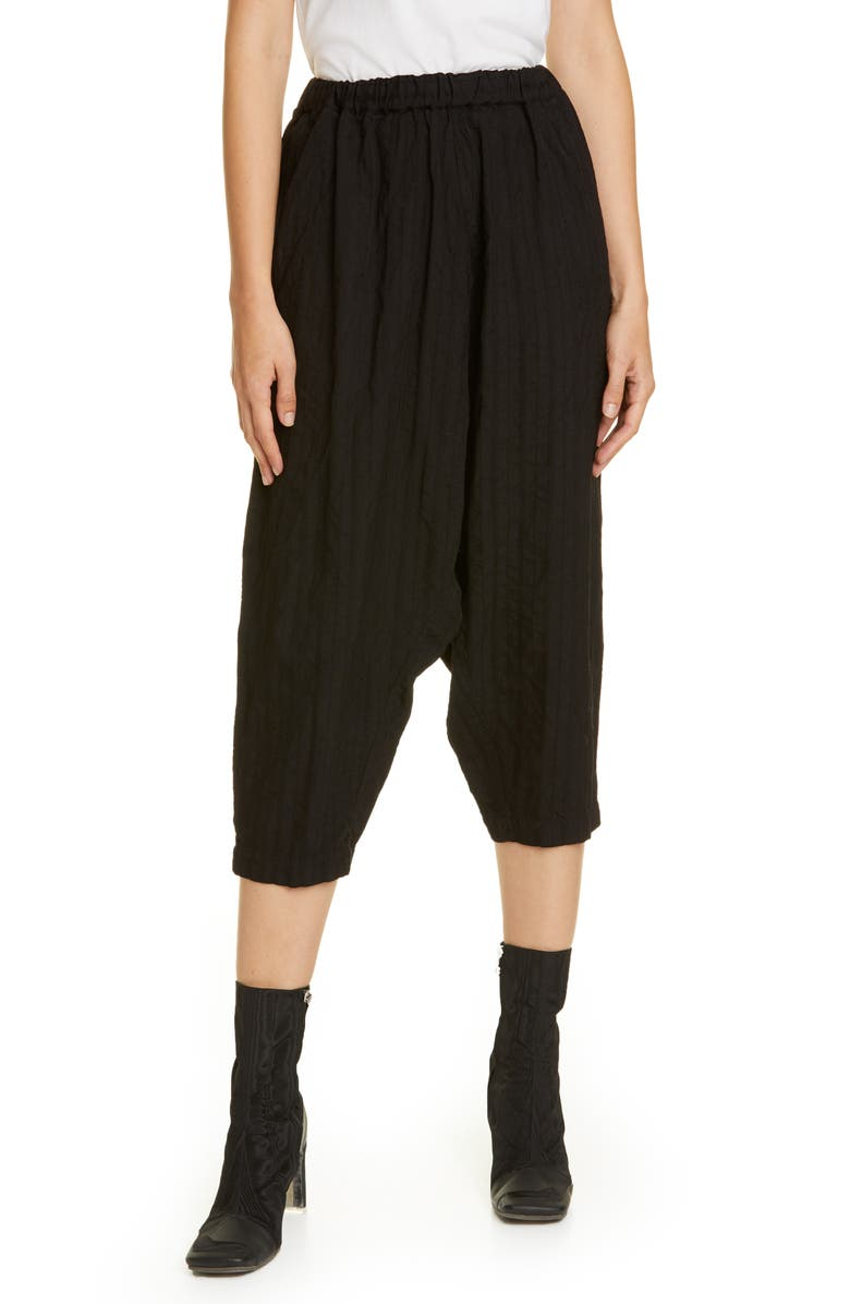 COMME DES GARÇONS Crop Wool Pants, Main, color, BLACK