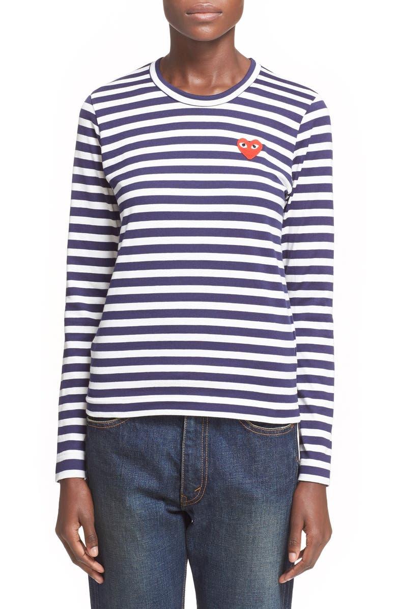 COMME DES GARÇONS PLAY Stripe T-Shirt, Main, color, NAVY/ WHITE