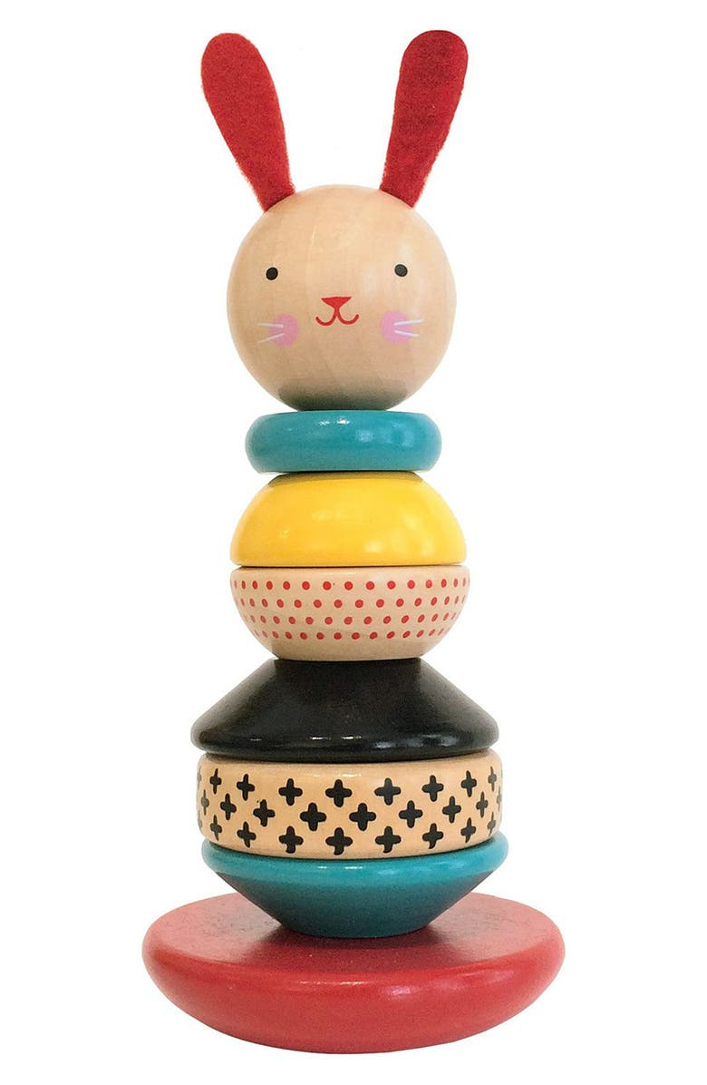 WILD & WOLF Wood Rabbit Stacking Toy, Main, color, 960