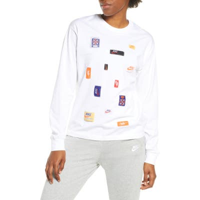 Nike Logo Patch Long Sleeve Top, White