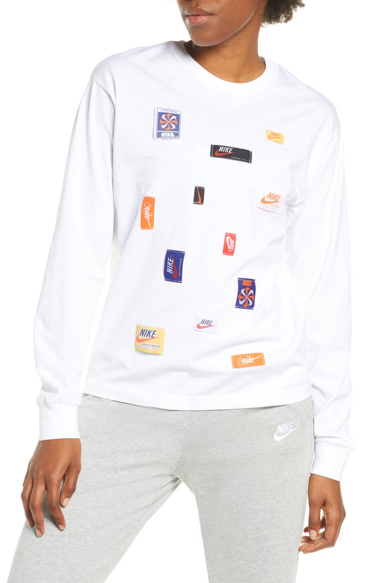 NIKE Logo Patch Long Sleeve Top, Main, color, WHITE