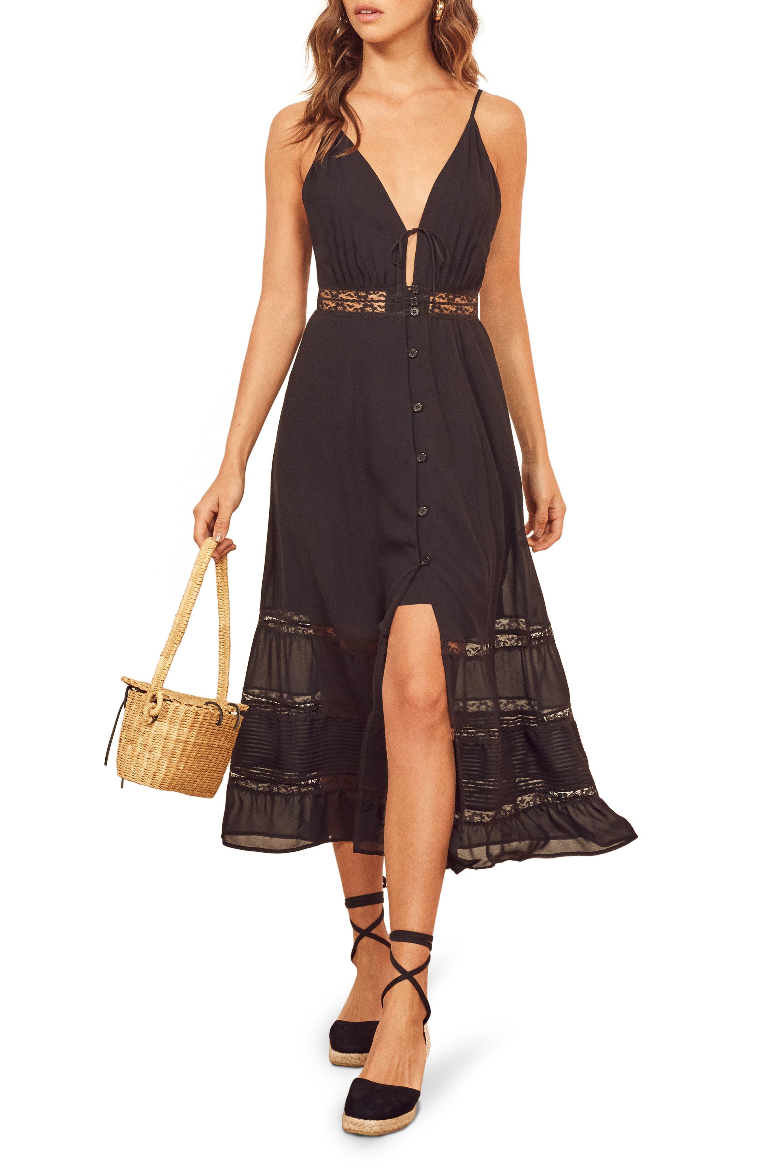 Reformation Shelley Sleeveless Lace Midi Dress, Black
