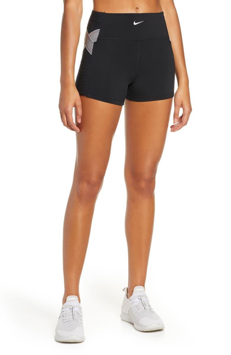 NIKE Pro Shorts, Main, color, BLACK/ METALLIC SILVER
