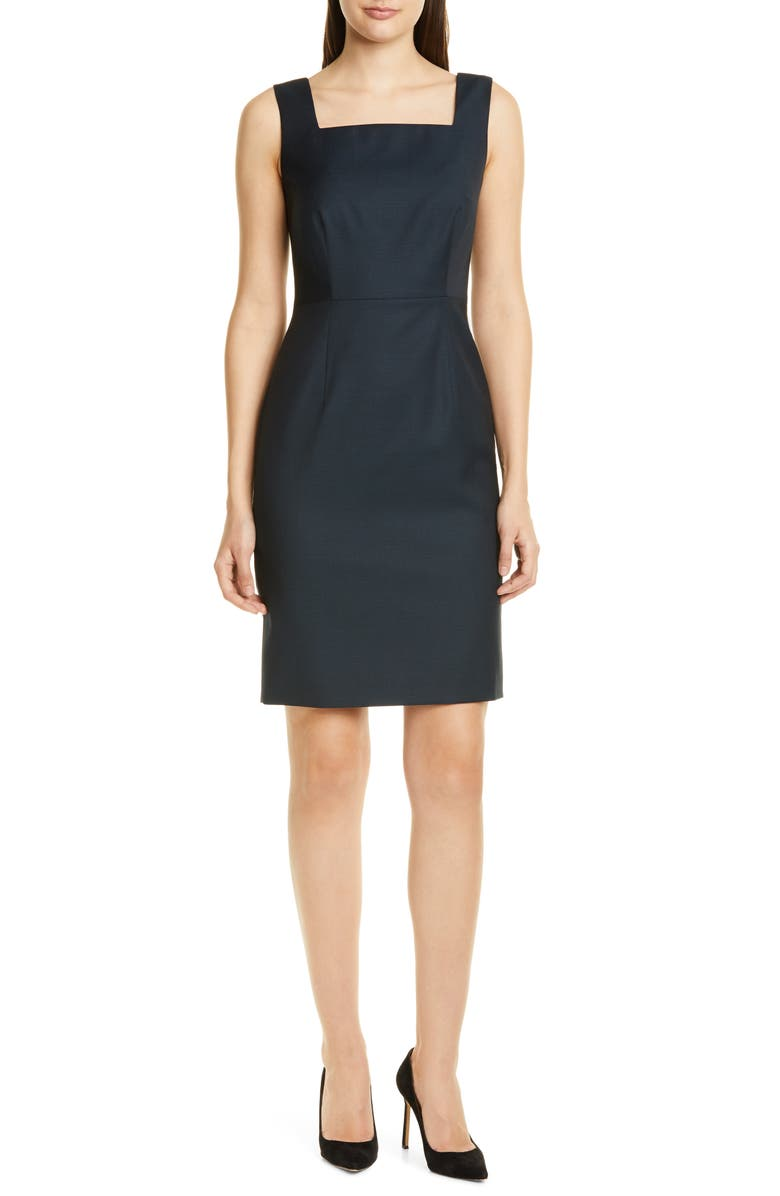 Digela Dark Emerald Patterned Wool Sheath Dress by Boss