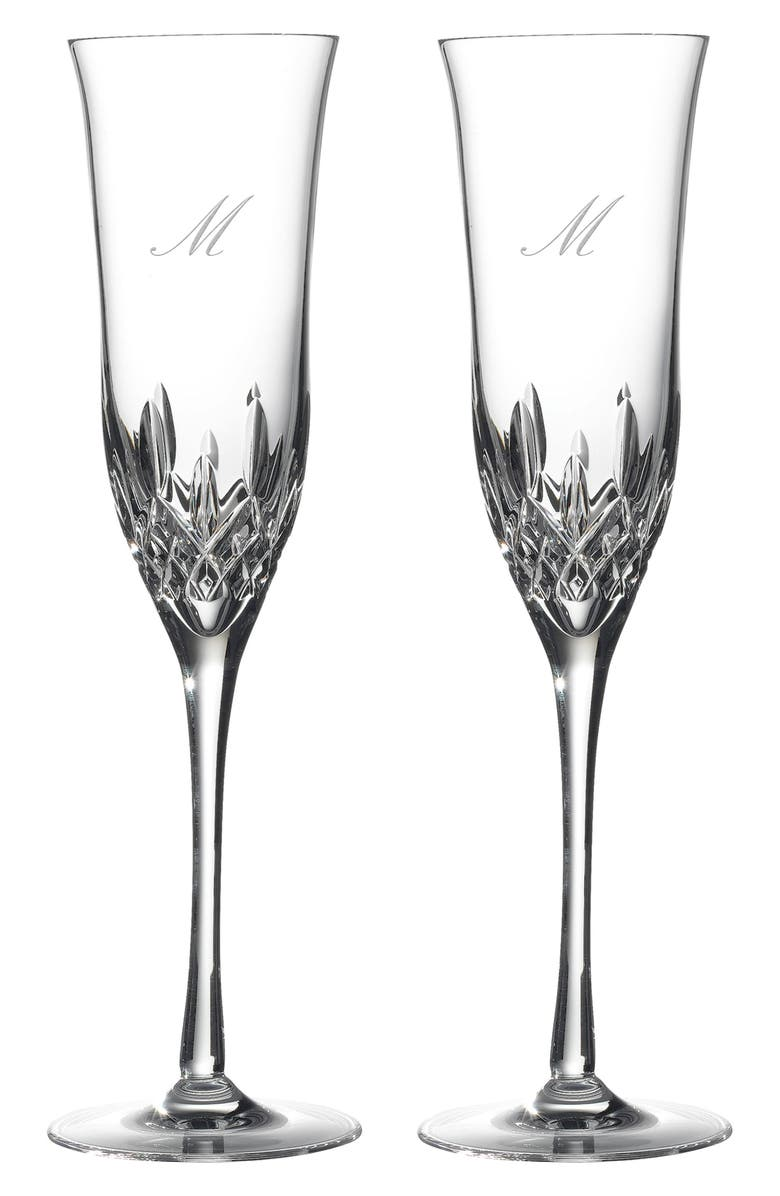 WATERFORD Lismore Essence Set of 2 Monogram Lead Crystal Champagne Flutes, Main, color, CLEAR - M