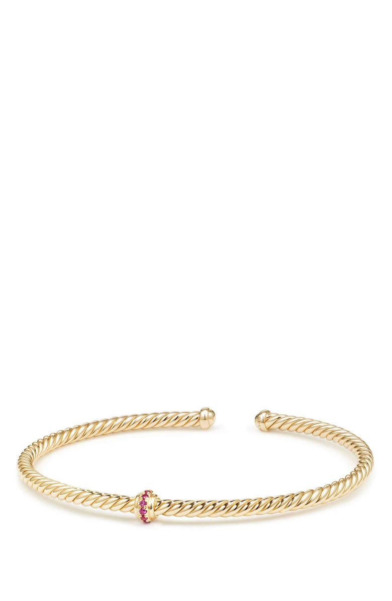 DAVID YURMAN Renaissance Center Station Bracelet with Diamonds in 18K Gold, 3mm, Main, color, GOLD/ RUBY