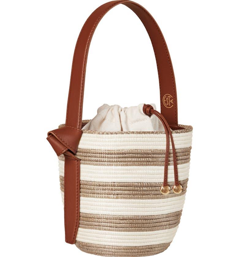 LA LIGNE x Cesta Neutral Stripe Lunch Pail Straw Handbag, Main, color, NEUTRAL