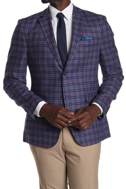 Image of Original Penguin Blue Plaid Two Button Notch Lapel Slim Fit Blazer