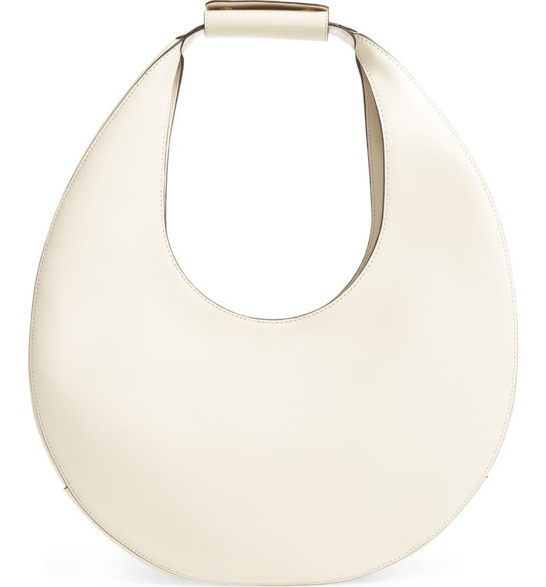 STAUD Large Moon Leather Bag, Main, color, CREAM