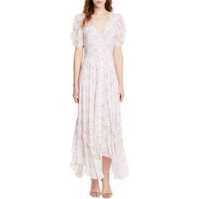 Loveshackfancy Andie Floral Handkerchief Hem Silk Dress, Pink
