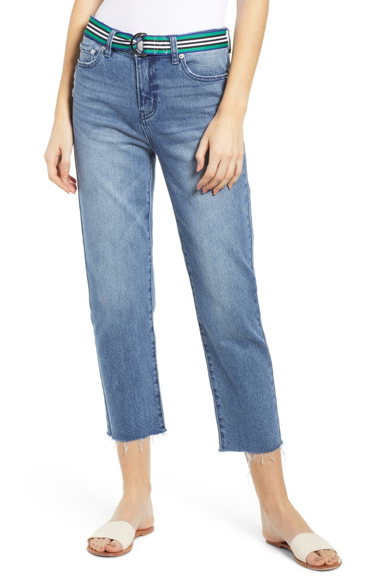 PROSPERITY DENIM Belted Crop Straight Leg Jeans, Main, color, 400