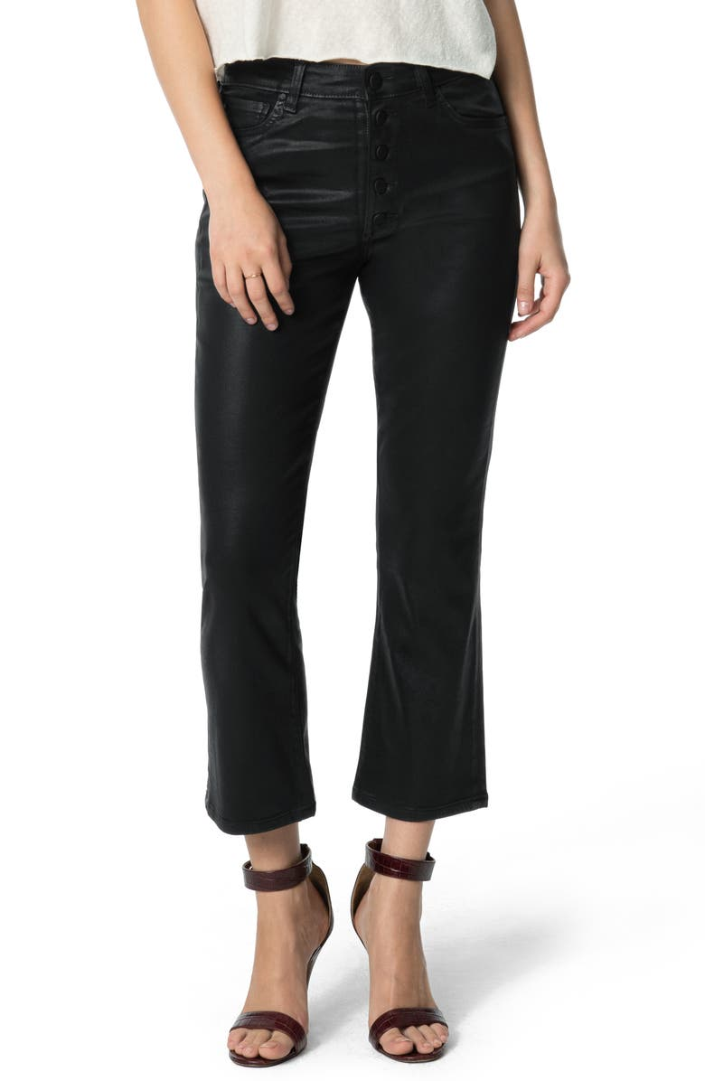 JOE'S The Callie Coated High Waist Crop Flare Jeans, Main, color, BLACK