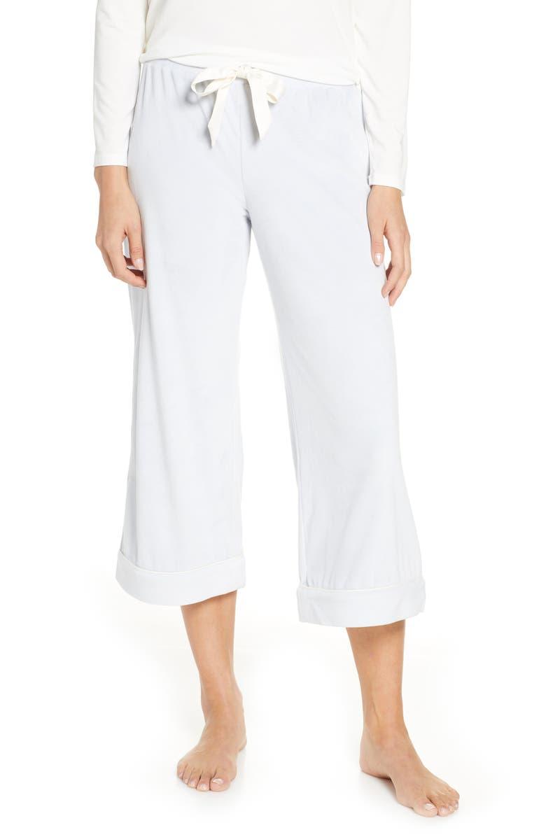 RACHEL PARCELL Velour Crop Pajama Pants, Main, color, BLUE ICE