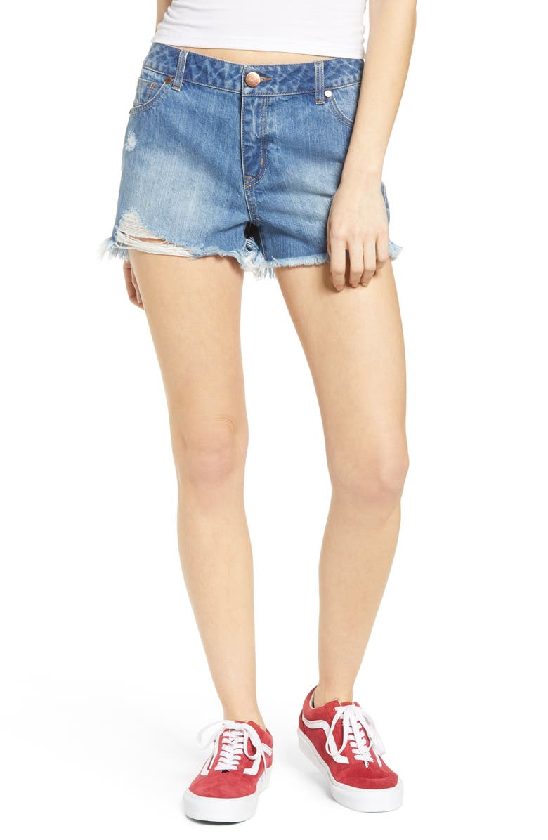 1822 DENIM Distressed High Waist Denim Shorts, Main, color, ILIANA