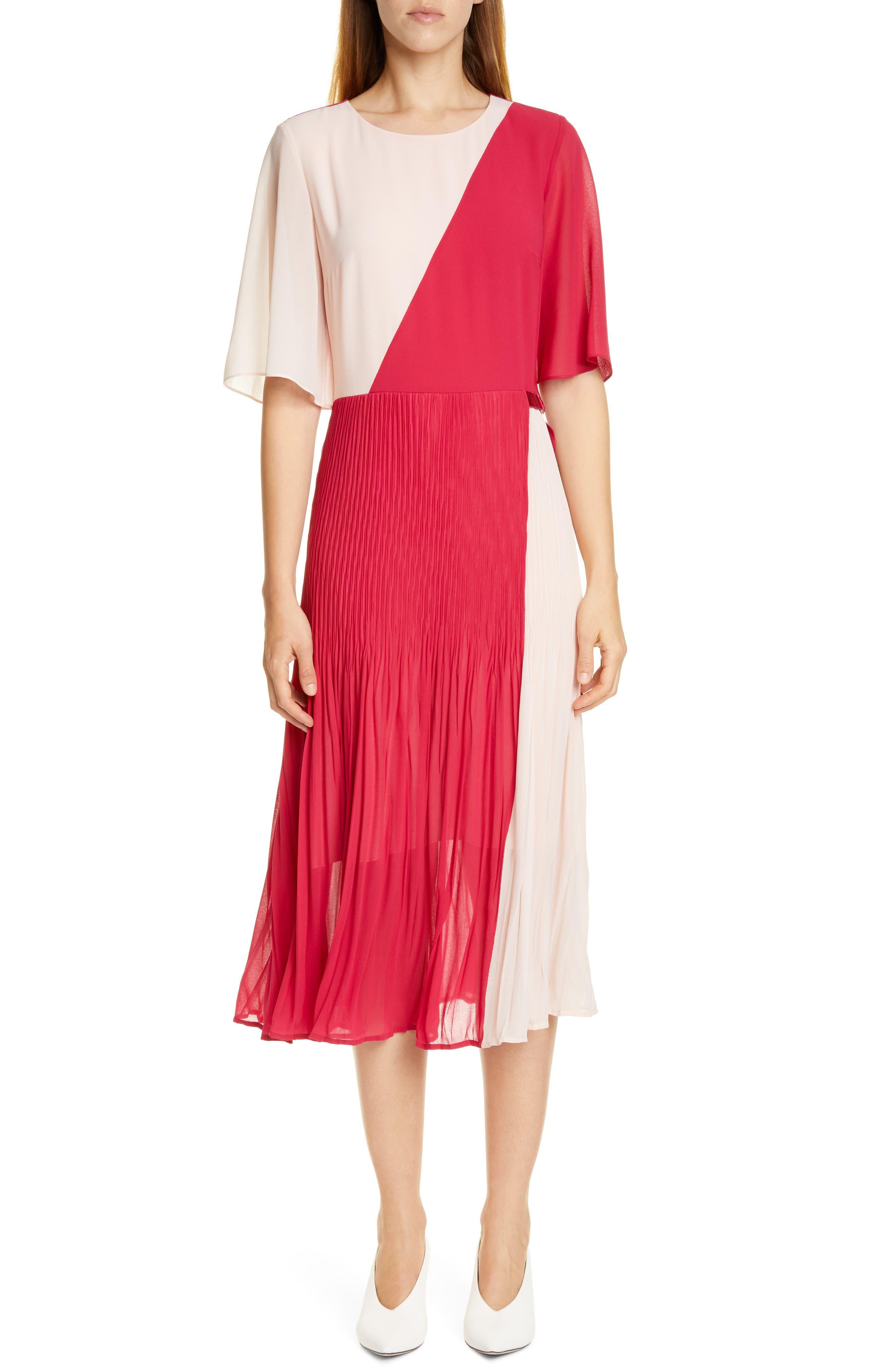 Hugo Kirana Colorblock Pleated Chiffon Midi Dress, Pink