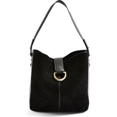 Topshop Holly Faux Leather Hobo Bag - Black