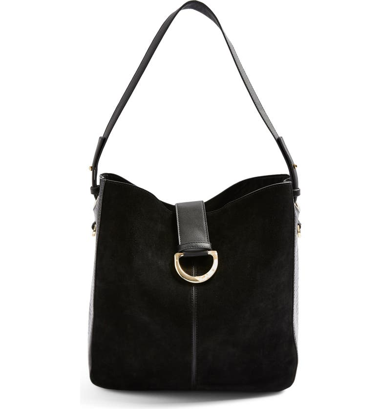 TOPSHOP Holly Faux Leather Hobo Bag, Main, color, 001