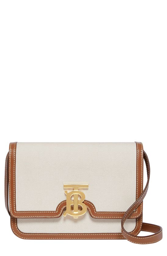 Burberry Tb Canvas & Leather Small Crossbody Bag In Natural/ Malt Brown