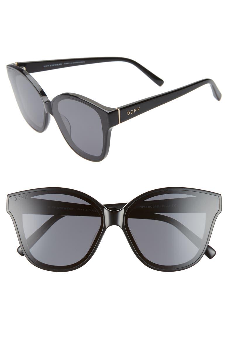 DIFF Piper 58mm Oversize Polarized Cat Eye Sunglasses, Main, color, 001
