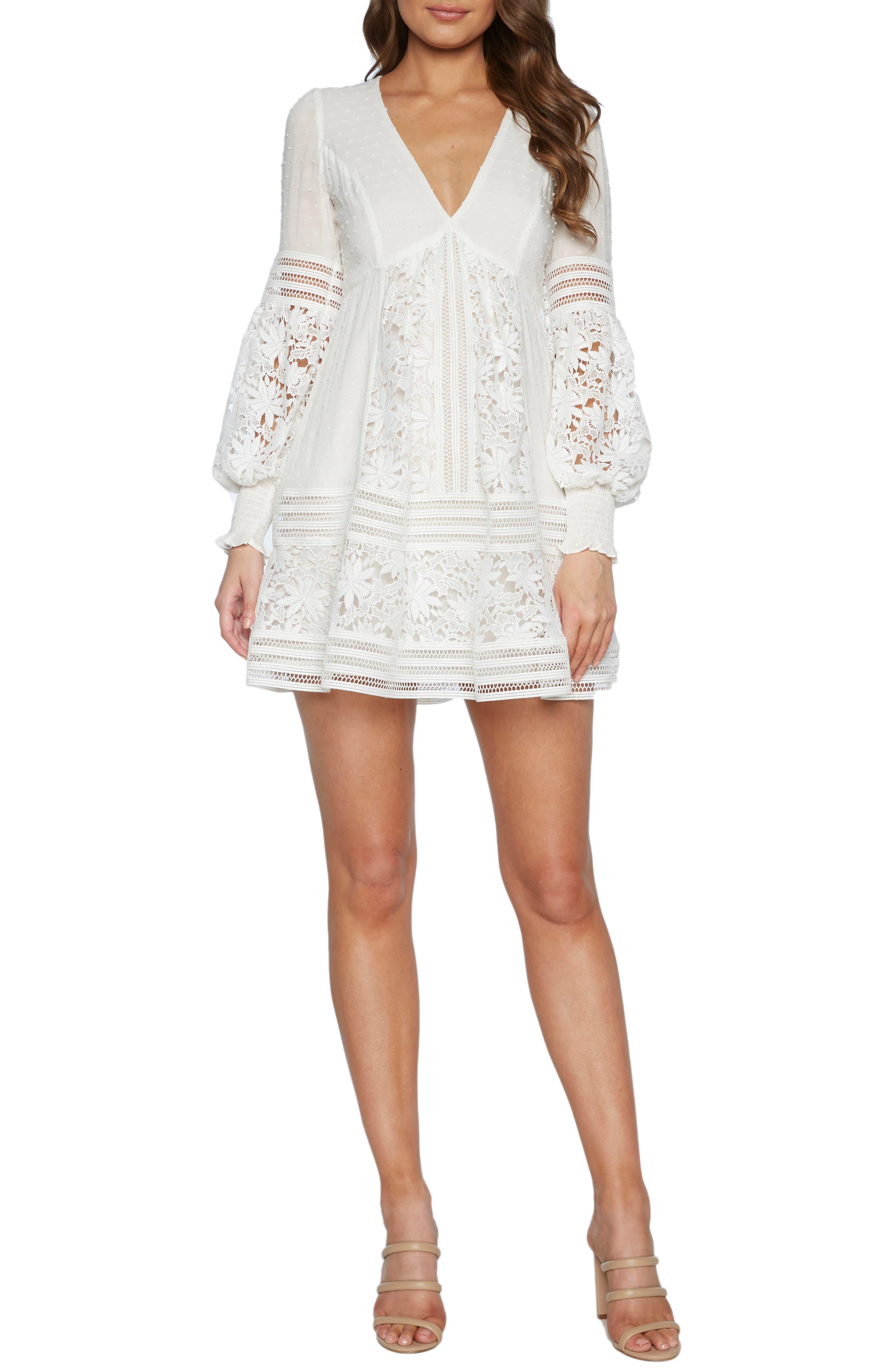 Bardot Mariah Long Sleeve Swiss Dot & Lace Babydoll Dress, Ivory