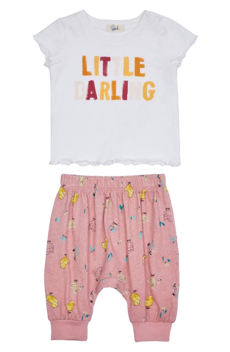 PEEK ESSENTIALS Dinah Graphic Tee & Pants Set, Main, color, CREAM