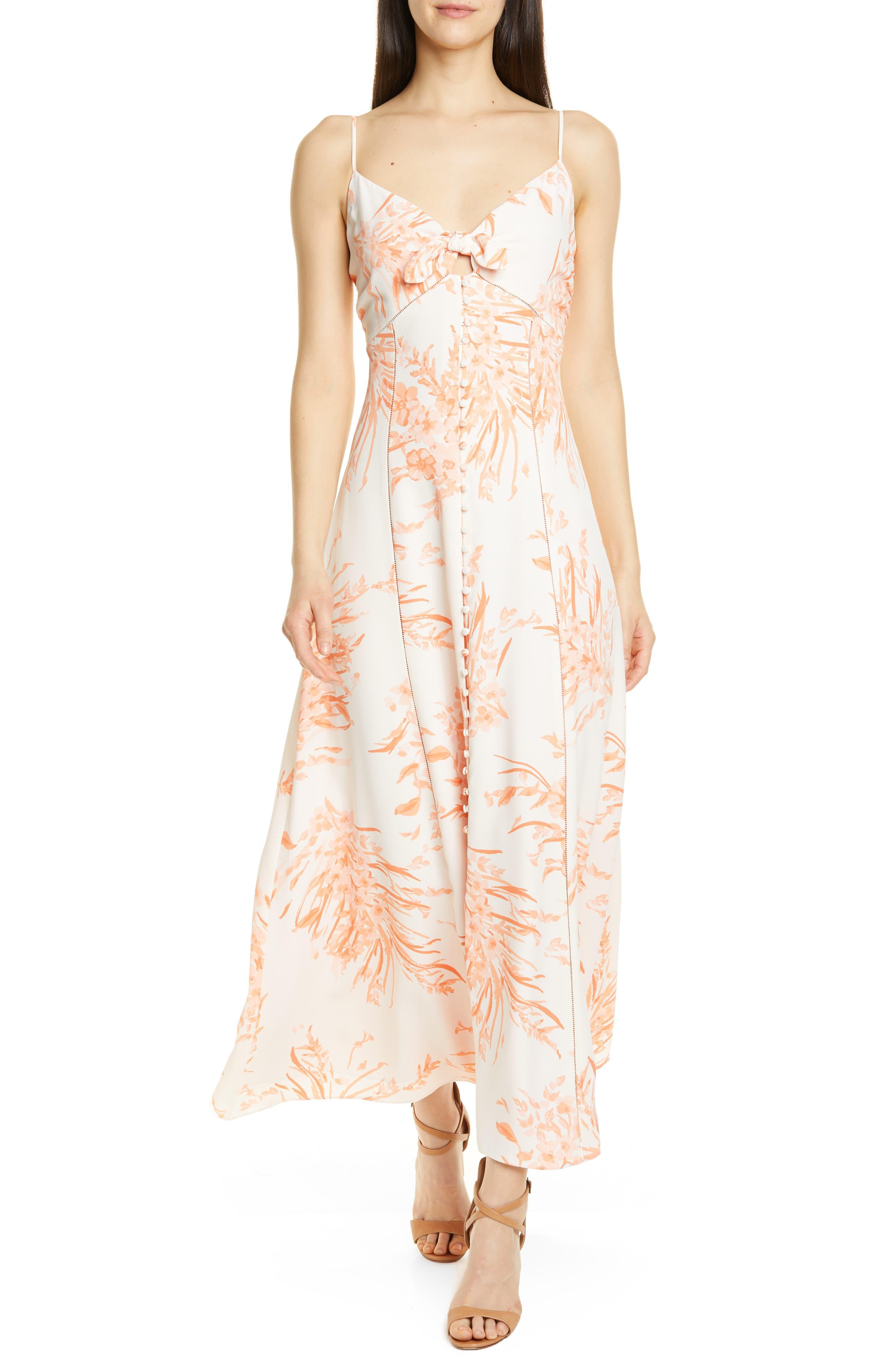 Joie Almona Floral Print Button Front Maxi Dress, White