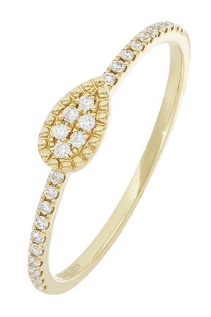 Image of Bony Levy Mika 18K Yellow Gold Pave Diamond Petite Pear Shape Ring - 0.10 ctw