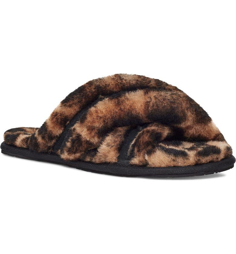 UGG<SUP>®</SUP> Scuffita Genuine Shearling Slide Slipper, Main, color, BUTTERSCOTCH PANTHER PRINT