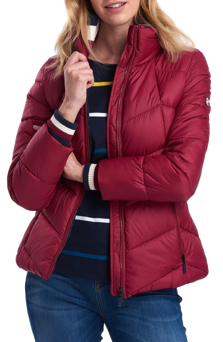 BARBOUR Gangway Quilted Puffer Coat, Main, color, DEEP PINK/ NAVY
