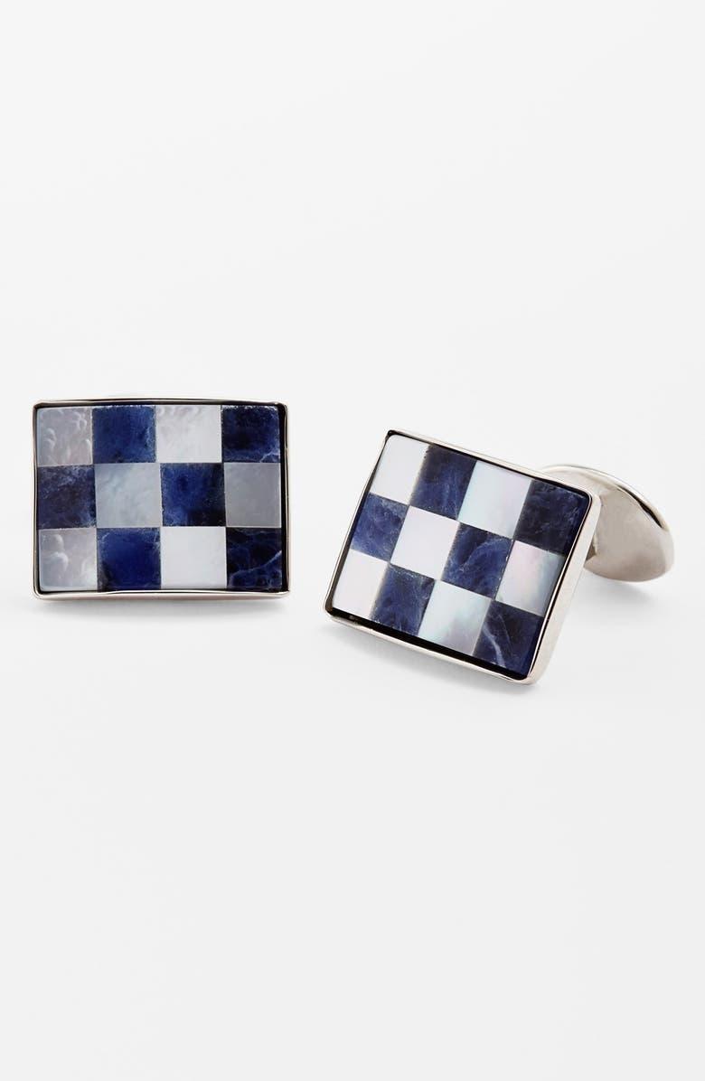 DAVID DONAHUE Checkerboard Cuff Links, Main, color, SILVER/ SODALITE/ PEARL