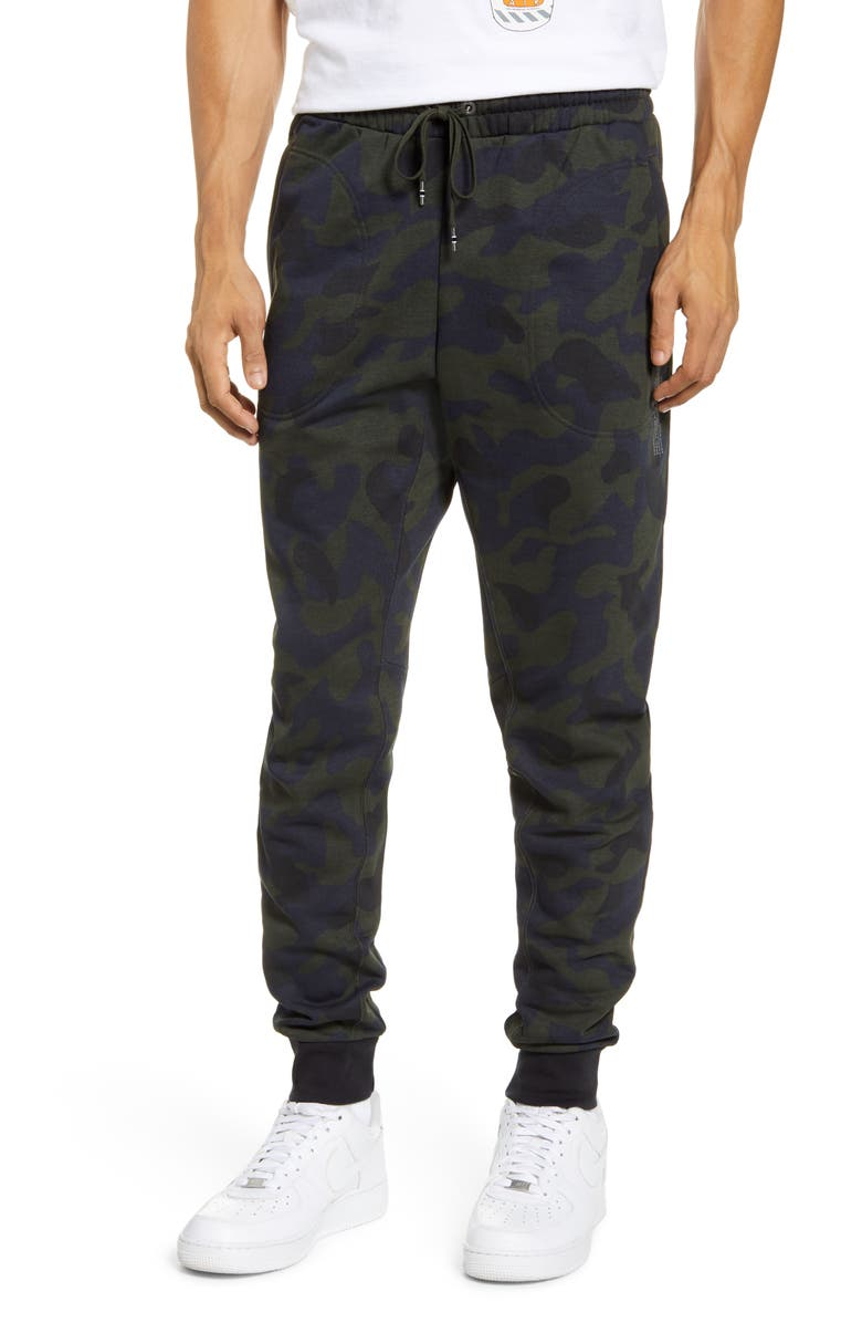 NIKE Sportswear Print French Terry Sweatpants, Main, color, DARK OBSIDIAN/ BLACK