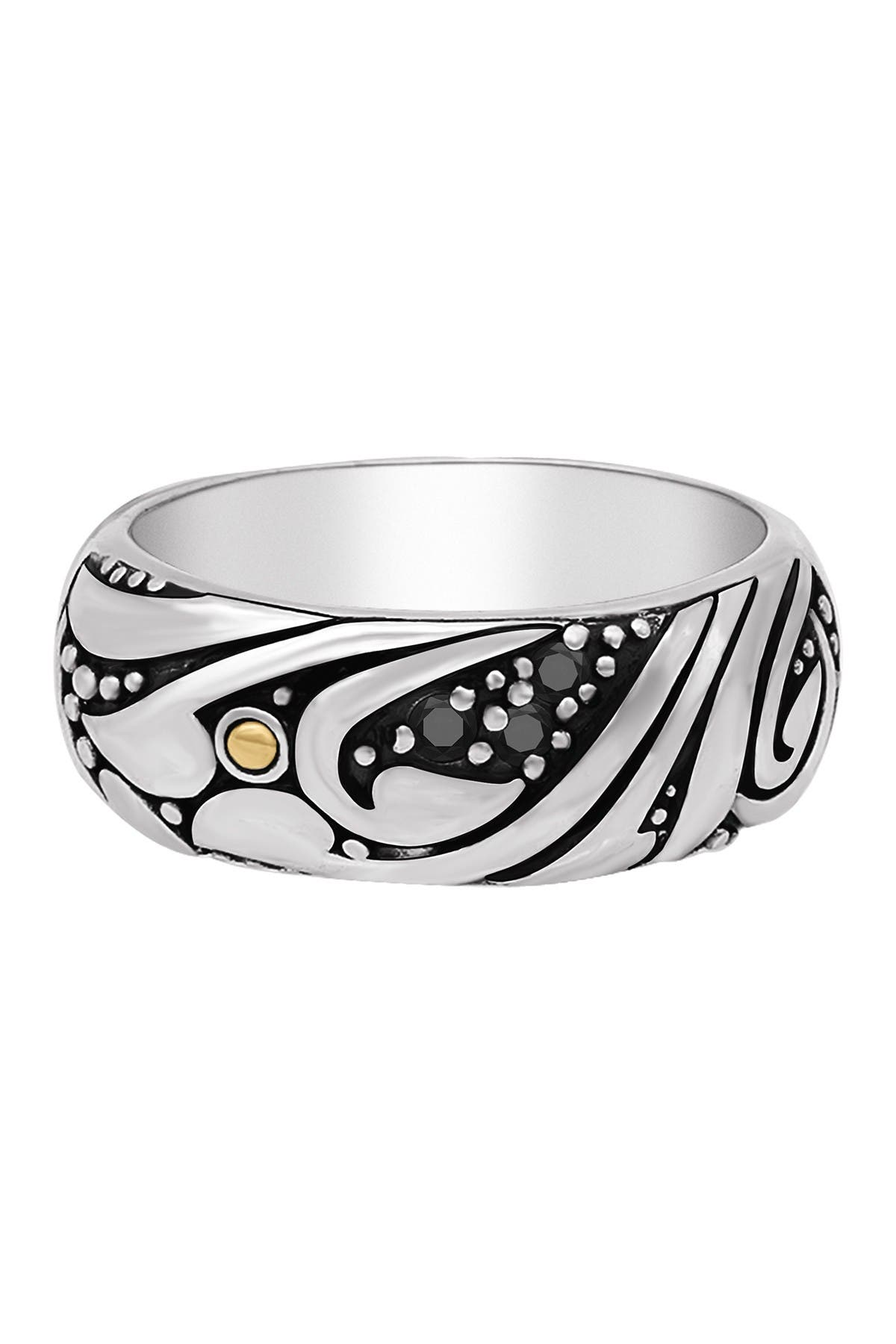 Image of DEVATA Sterling Silver Bali Filigree Black Spinel Dome Ring