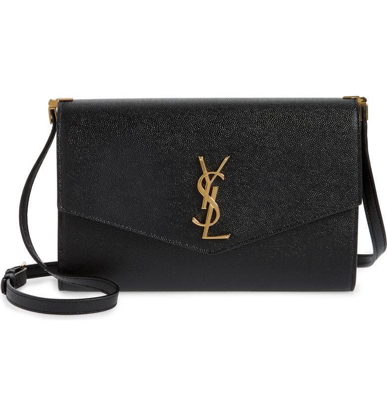 SAINT LAURENT Mini Uptown Pebbled Calfskin Leather Shoulder Bag, Main, color, 001