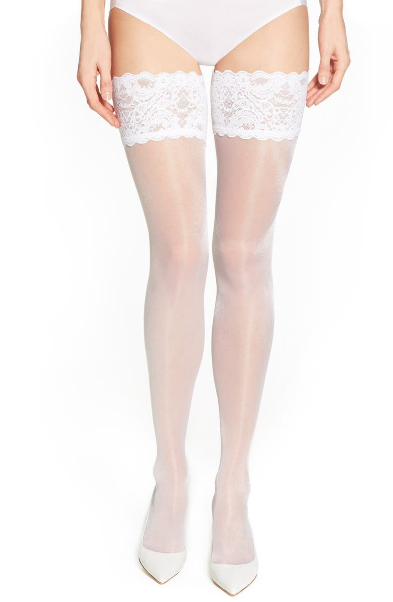 WOLFORD Satin Touch 20 Stay-Up Stockings, Main, color, WHITE