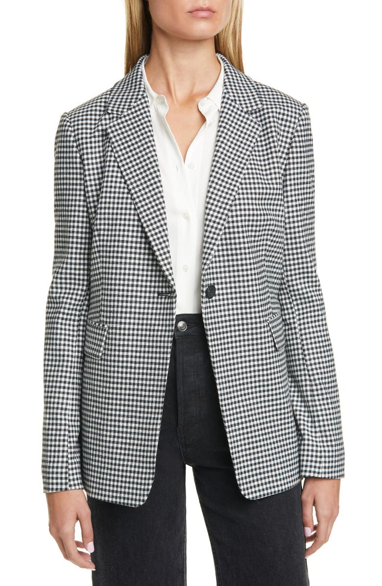NORDSTROM SIGNATURE Check Blazer, Main, color, BLACK- WHITE CICADA GINGHAM