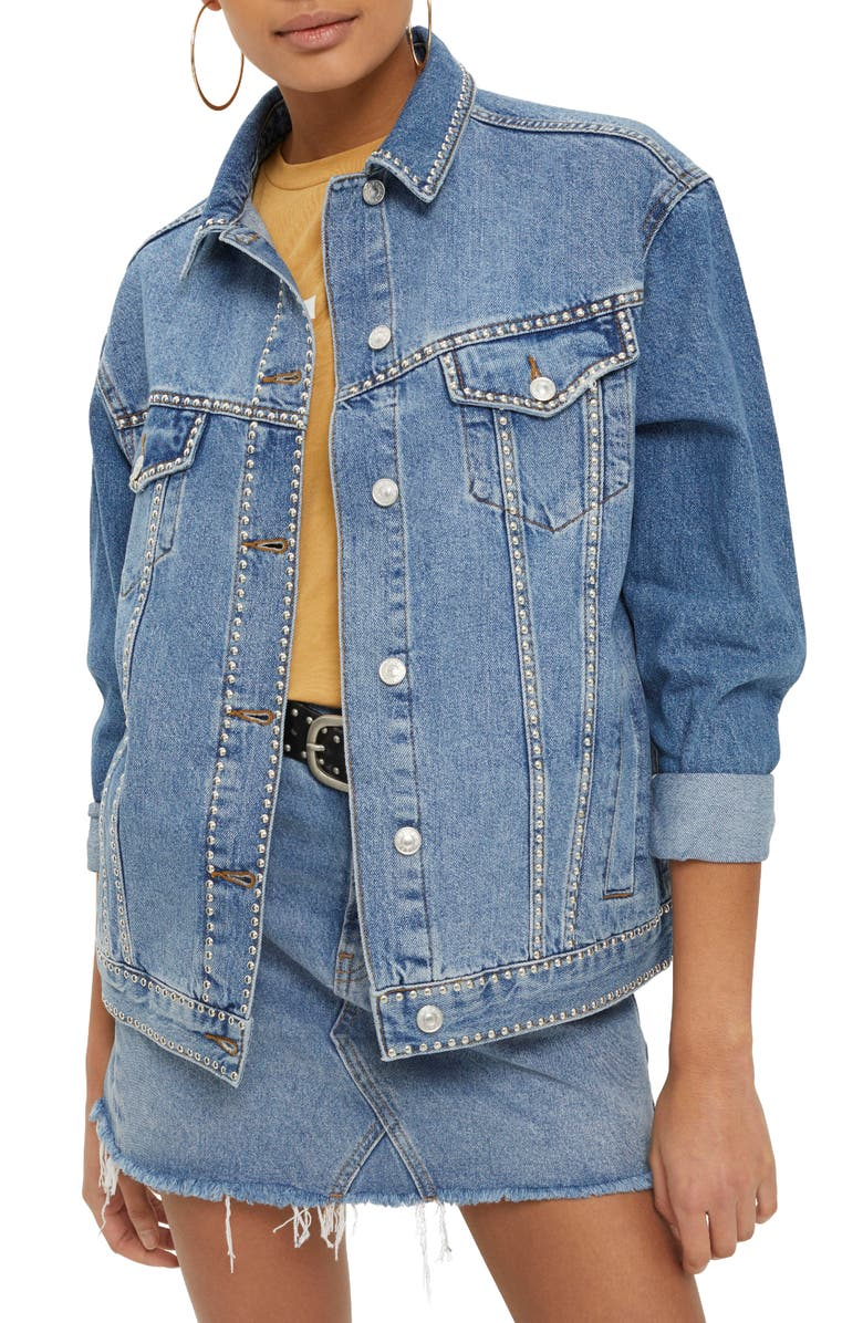 TOPSHOP Studded Denim Jacket, Main, color, 420